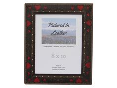 $62 A beautiful 8x10 leather picture frame in black with red hearts. It's a lovely frame great for a wedding or anniversary gift!