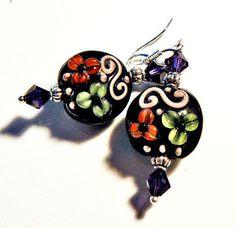 Lampwork Earrings  handmade  Autumn Colors LE122  OOAK