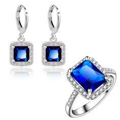Yunkingdom cuadrado diseño sistemas de la joyería pendientes de la manera de las mujeres elegantes chapado en oro azul de cristal de circón anillos de bodas lpg2