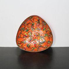 Vintage Orange Enamel on Copper Bowl