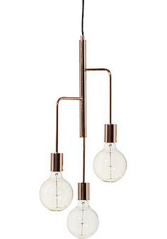 Cool Ceiling pendant in polished copper with three light sources of different height. Light bulbs not included, looks best with a large globe lamp in! Ceiling Pendant, Ceiling Lamp, Pendant Lighting, Pendant Design, Lamp Design, Lamp Light, Light Up, Diy Luminaire, Cool Chandeliers