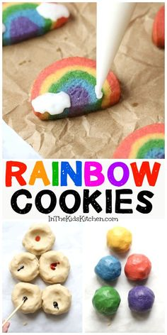 How to make easy rainbow cookies with frosting clouds cookies rainbow soft and chewy m m cookies Cookies For Kids, Fun Cookies, How To Make Cookies, No Bake Cookies, Baking Cookies, Easy Baking For Kids, Baking Recipes For Kids, Cooking With Kids Ideas, Baking Ideas