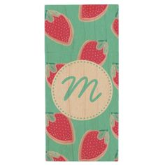 #cute - #Cute Strawberry Fruit Pattern & Monogram Wood USB Flash Drive