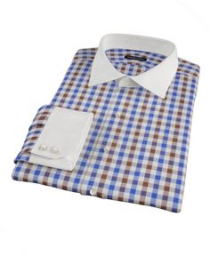 Blue and Brown Large Gingham by Proper Cloth