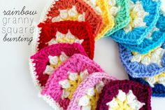 Raising up Rubies: rainbow granny square bunting ... ♥