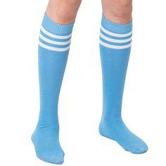 Light blue knee socks with white stripes. Large selection of TUBE socks. American Made Stockings Heels, Tube Socks, Columbia Blue, Harajuku Fashion, American Made, Light Blue, Blue And White, Stripes, Legs