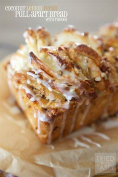 Coconut Lemon Pecan Pull-Apart Bread // Coconut & lemon lovers will fall head over heels in love with this pull-apart bread. This is unlike any other sweet bread you've had. Flavors collide and will send you wanting more. It will be hard to stop at just one slice! | Tried and Tasty