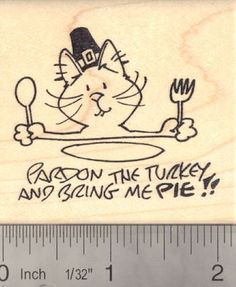 Pardon the Turkey Cat Thanksgiving Rubber Stamp Pie Lover ** Check out the image by visiting the link.