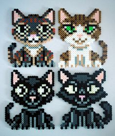 Perler Bead Cat Magnets by kittendrumstick