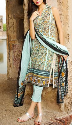 Buy Aqua Printed Cotton Lawn Dress by Khaadi Lawn Collection Vol.II 2015.