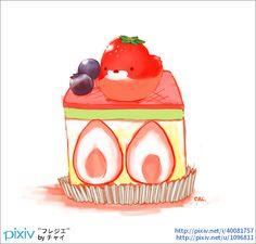 バタークリームとカスタードクリームをスポンジで挟んだフランスのお菓子。「フレジエ」はフランス語で「イチゴ」(「植物」としてのイチゴ。「イチゴの実」は「フレーズ」が一般的らしい)。