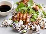Tamari and Ginger Marinaded Chicken Thighs with Nori Seaweed and Sesame Rice
