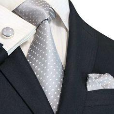 Silver and White Silk Necktie Set JPM53N – Toramon Necktie Company