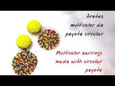 como hacer aretes multiculor de peyote circular how to do earrings of circular peyote tutorial Earring Tutorial, Beading Projects, Beading Tutorials, Retro Mode, Peyote Beading, Beaded Jewelry Patterns, Peyote Stitch, Bead Earrings, Seed Beads