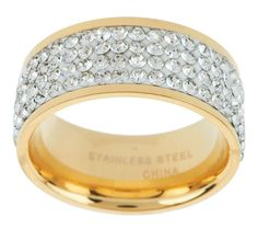 Steel by Design Stainless Steel Silk Fit Yellow Gold Crystal Band Ring SZ 6 #SteelbyDesign #Band