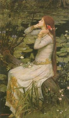 """Ophelia    Date: 1894  Medium: Oil on canvas  Size: 49 x 29 in        Ophelia is the daughter of Polonius, sister to Laertes, and rejected lover of Hamlet in Shakespeare's tragedy Hamlet. Ophelia is a symbol of innocence gone mad. A dutiful daughter, she is manipulated into spying on Hamlet and must bear his humiliating and brutal remarks. She believes him to be mad, commenting sadly """"O, what a noble mind is here o'erthrown."""" Having lost Hamlet's affection, she herself goes mad when her…"""