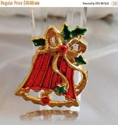 SALE Vintage Red Bell Brooch. Red Green Gold Christmas Bell Pin. Holiday Bell Brooch.