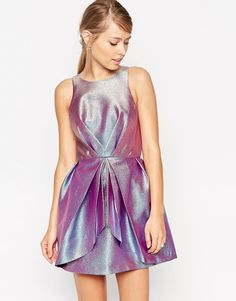 Holographic Skater Dress