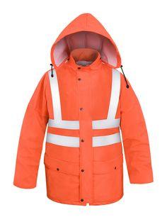 VESTE HAUTE-VISIBILITÉ IMPERMÉABLE Modèle: 085 La veste possède la fermeture à glissière sous rabat à boutons pression, une capuche pliable dans le col, 2 poches soudées sous pattes, les coupes-vent intérieurs et et les bandes rétroréfléchissantes afin de rendre l'utilisateur plus visible. Le modèle est fabriqué en tissu imperméable, respirant et très léger appelé Aquapros, qui est recommandé à l'usage dans des conditions météorologiques défavorables où la visibilité est limitée.