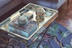 A mirrored coffee table