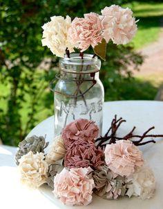 cloth flowers in a mason jar.