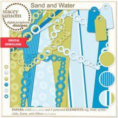 Sand and Water Digital Scrapbook Kit   Blue Beige White Paper   Digital Scrapbooking   Download & Print   Digital Paper   Digital Download by StaceySansomDesigns on Etsy