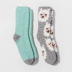 Women's Llama Cozy Crew Socks - Gray/Mint One Size : Target Llama Socks, Sport Cuts, Cute Llama, Cozy Socks, Liner Socks, Womens Fashion For Work, Types Of Shoes, Gifts For Girls, Fitness Fashion