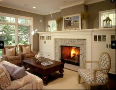 New living room windows fireplace built ins 44 Ideas Craftsman Living Rooms, Beige Living Rooms, Craftsman Interior, Cozy Living Rooms, My Living Room, Living Room Decor, Craftsman Style, Bungalow Living Rooms, Living Room Windows