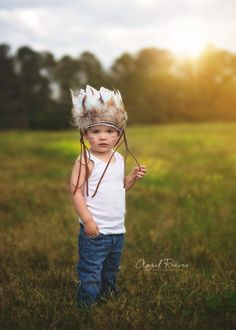 Little chief Infant/toddler boys Indian feather Headdress. Photoshoot - birthday party - native - tribal - feathers - leather.