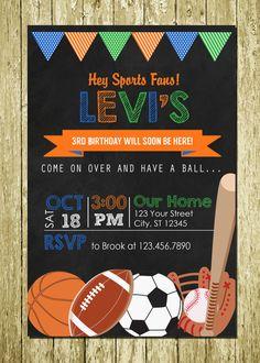 Sports Fan Sports Balls Chalkboard by PartyCreations4u on Etsy