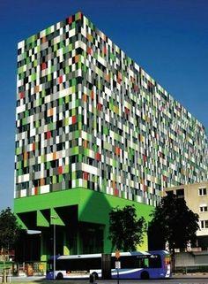 UMC Utrecht The Netherlands ± 380 Student Units and Public Space Design / Architectenbureau Marlies Rohmer Colour Architecture, Facade Architecture, Amazing Architecture, Utrecht, Unusual Buildings, Amazing Buildings, Colourful Buildings, Public Space Design, Student House