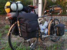 A Brooks-d up Trek tourer, from the Brooks blog.. cycle swag!