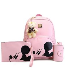 607120103870 Mickey Cartoon Leather Composite Women Backpack School Bags for Teens Cute  Bagpack Sac A Dos Femme Mochila Backpacks for Girls