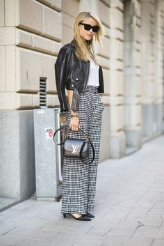 Have a little more fun with your work pants by incorporating an edgier leather jacket instead of a blazer. Source: Le 21ème | Adam Katz Sinding