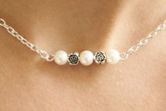 silver+necklace+ivory+faux+pearl+necklace+by+nikajewellerybox,+£5.99