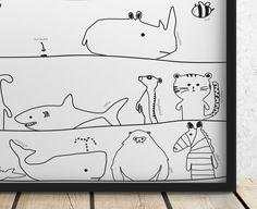 Zwierzęcy alfabet - Szare-Kropki - Plakaty dla dzieci