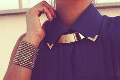 Gold, blouse, blue, bracelet.