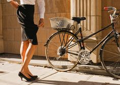 """Iva Jean Bike Reveal Skirt $160  The Reveal Skirt provides women with a tailored, straight skirt that unzips in the back to expose 12"""" of additional fabric at the bottom hem for easy pedaling while biking."""