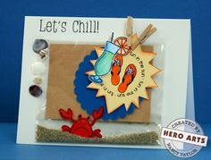 Instructions for shaker card - crab moves around in the sand Hero Arts Cardmaking Idea: Let's Chill