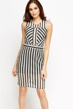 Mesh Stripe Pencil Dress
