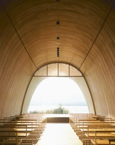 Harp strings fixed across the facade turn this chapel in Japan into a musical instrument