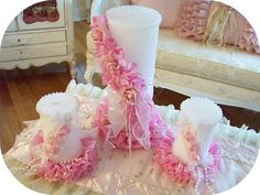 Pretty Pink Rose Ruffled Candles-pink rose candles, ruffled rose candles. pink candles
