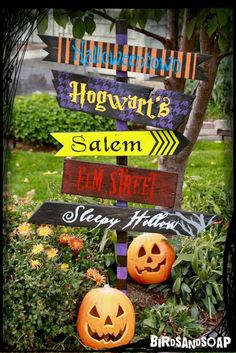 DIY Halloween Direction Sign - I love the use of color and different fonts!