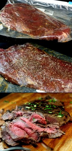 Spectacular Asian Marinated Flank Steak and How to Make Flank Steak as Tender as Filet Mignon. Flank steak is skirt steak in UK Pork Recipes, Asian Recipes, Cooking Recipes, Healthy Recipes, Beef Recepies, Recipies, Healthy Meals, Delicious Recipes, I Love Food