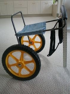 Home-made dog wheelchair= looks like we may need this. How great that someone tested and shared their design. Turns out the custom made ones aren't cheap.