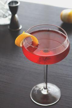 The Boulevardier: bourbon, Carpano Antica, Campari, lemon twist | Honestly YUM
