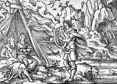 Orpheus in front of Pluto (Hades) and Proserpina (Persephone). Engraving by Virgil Solis (1514–1562) for Ovid's Metamorphoses Book X, 11-52 (via Wikimedia Commons).