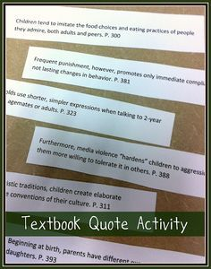 Textbook quote activity to use before a new unit/chapter.