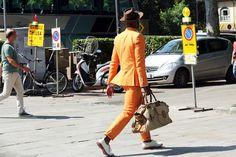 Orange Suit with white oxfords?
