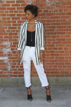 30 Ways to Wear White Jeans This Summer  #purewow #outfit ideas #summer #style #fashion #denim
